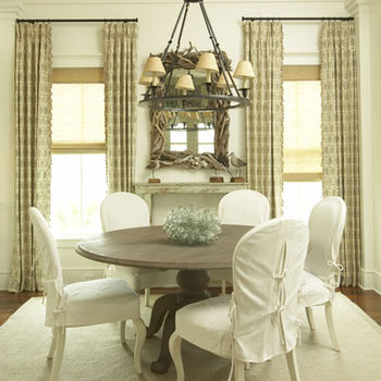 room interior courtains and dining room table